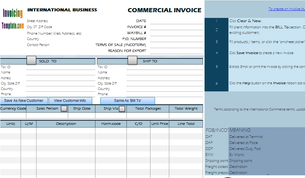 commercial invoice template for international shipping  Commercial Invoice Templates - 20 Results Found