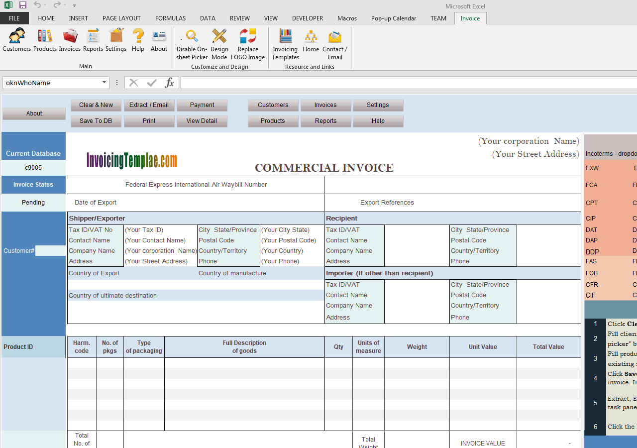 Commercial Template Sample - Complete Incoterms Option (IMFE Edition)