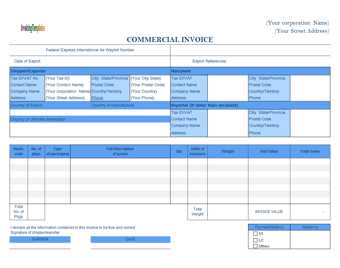 Commercial Template Format - Complete Incoterms Option