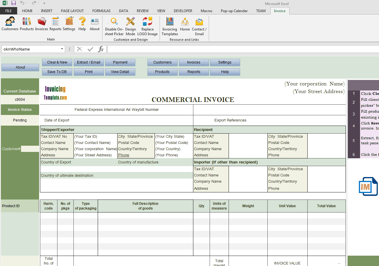 Commercial Template Sample Using Payment Method Checkboxes