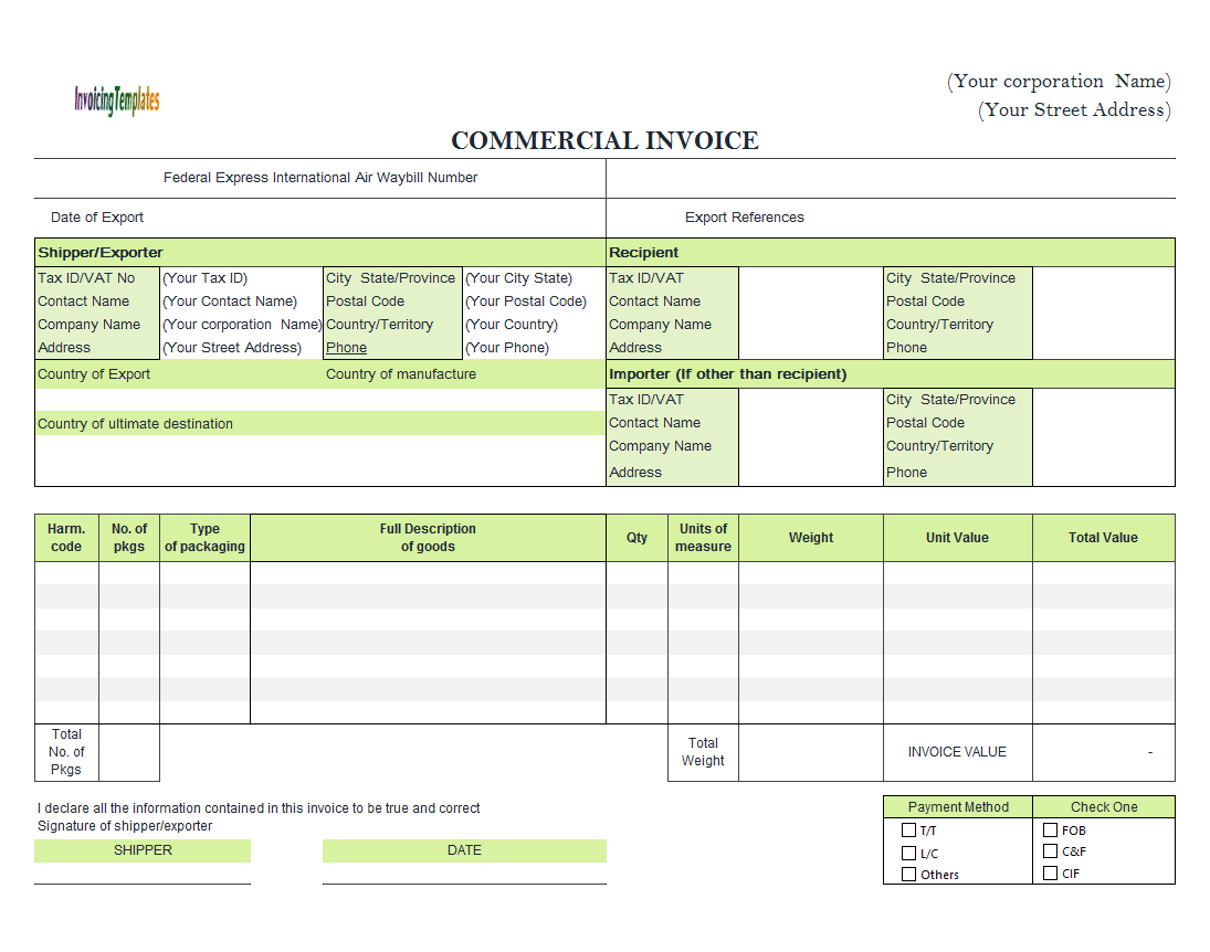 Commercial Invoice For Export In Excel - Commercial invoice template excel