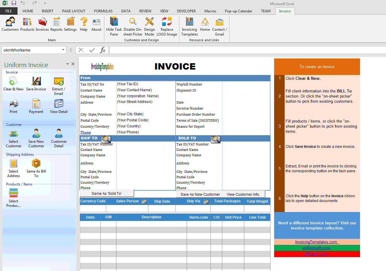 Commercial Invoicing Template Ups Style