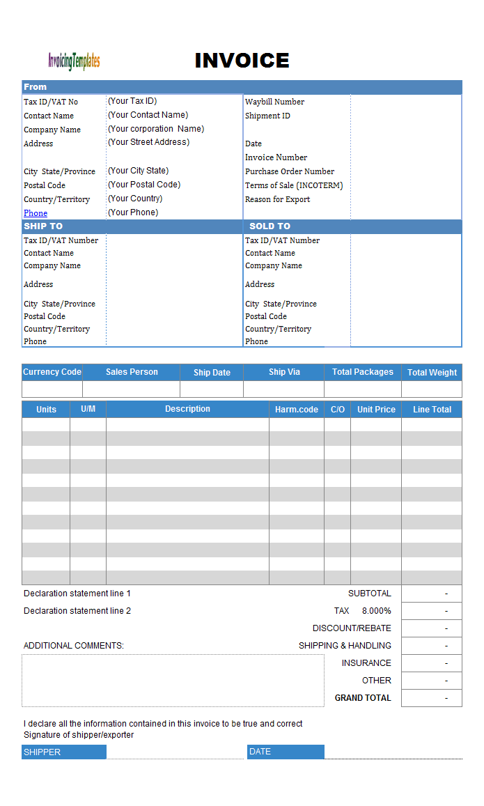 Commercial Invoicing Sample (UPS Format)