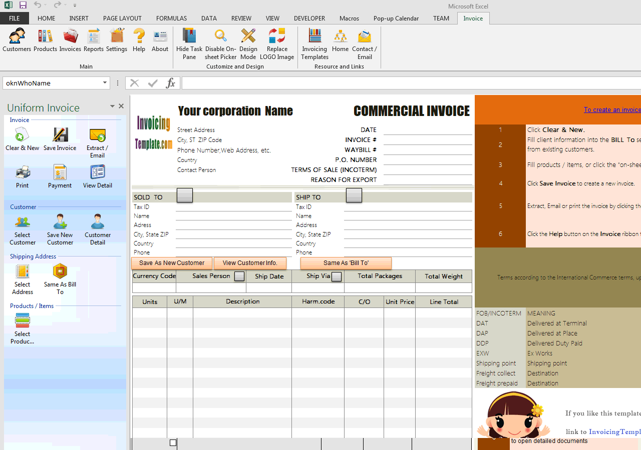 Commercial Invoice for Export in Excel (IMFE Edition)