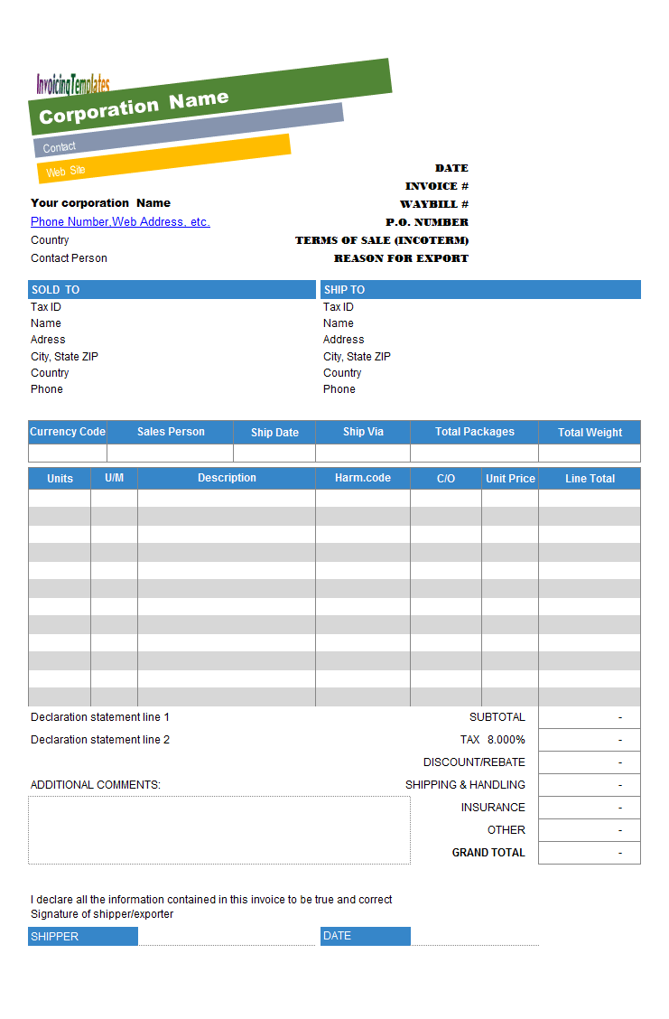 commercial invoice template with colorful business name