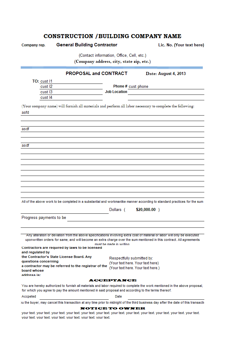 Construction proposal template for Builder contract for new home