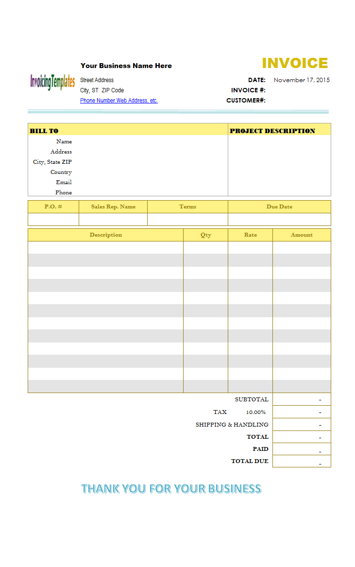 basic blank service invoice format  two