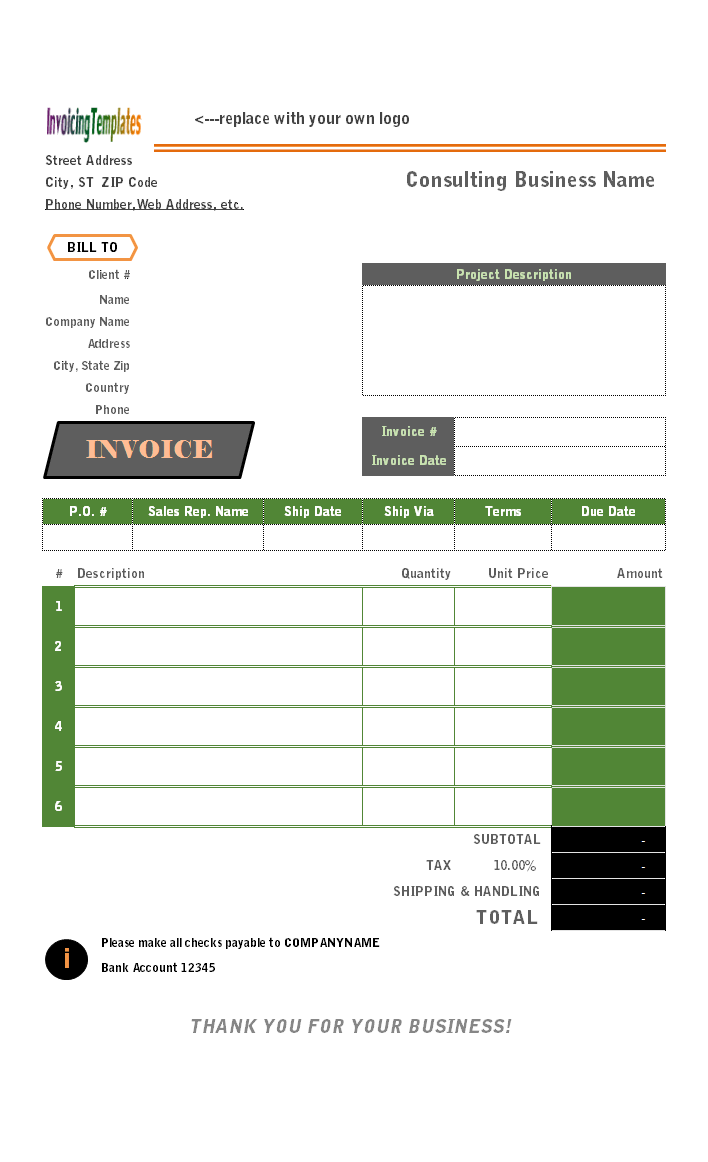 template bill invoice template zafu co billing format in excel