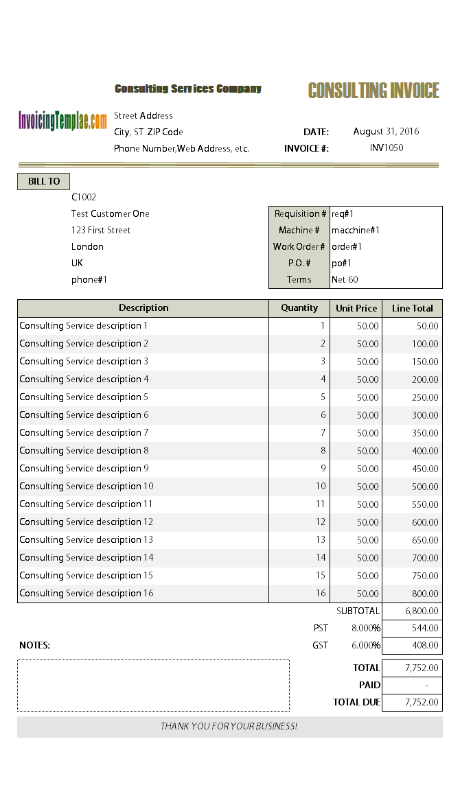Consulting Invoicing Form - Invoice sample template