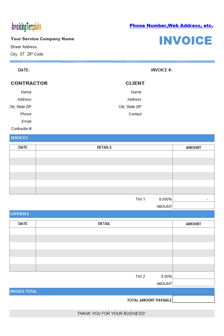 Contractor Invoicing Layout