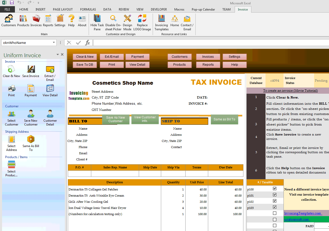 Invoicing Sample For Cosmetics Shops - Microsoft access invoice database template free online vape stores