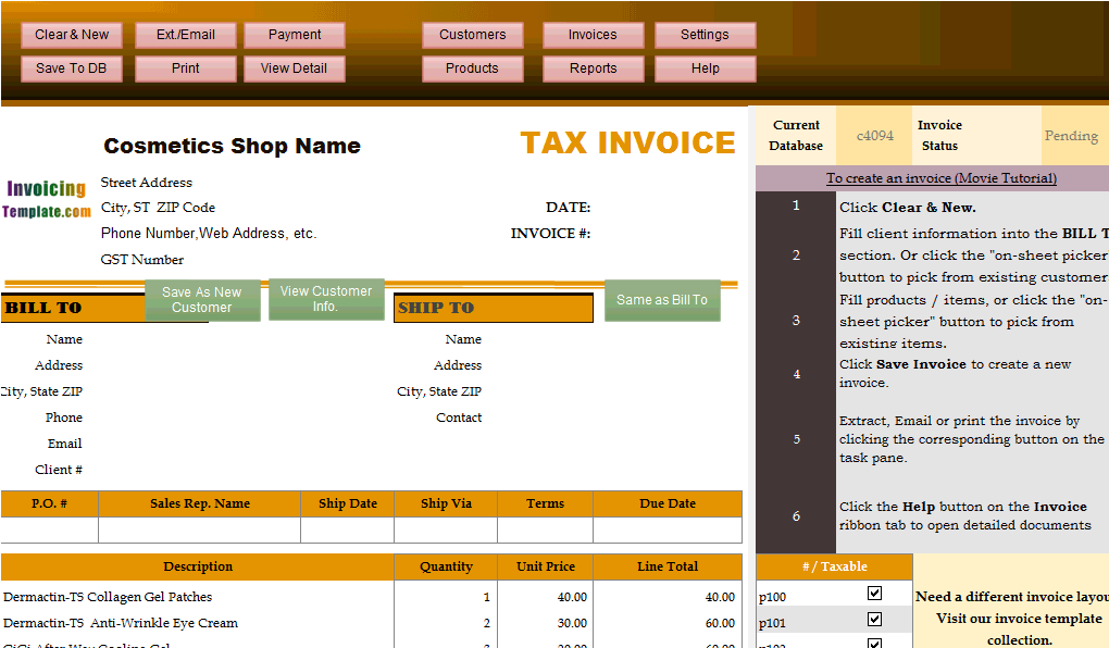 Invoicing Sample for Cosmetics Shops