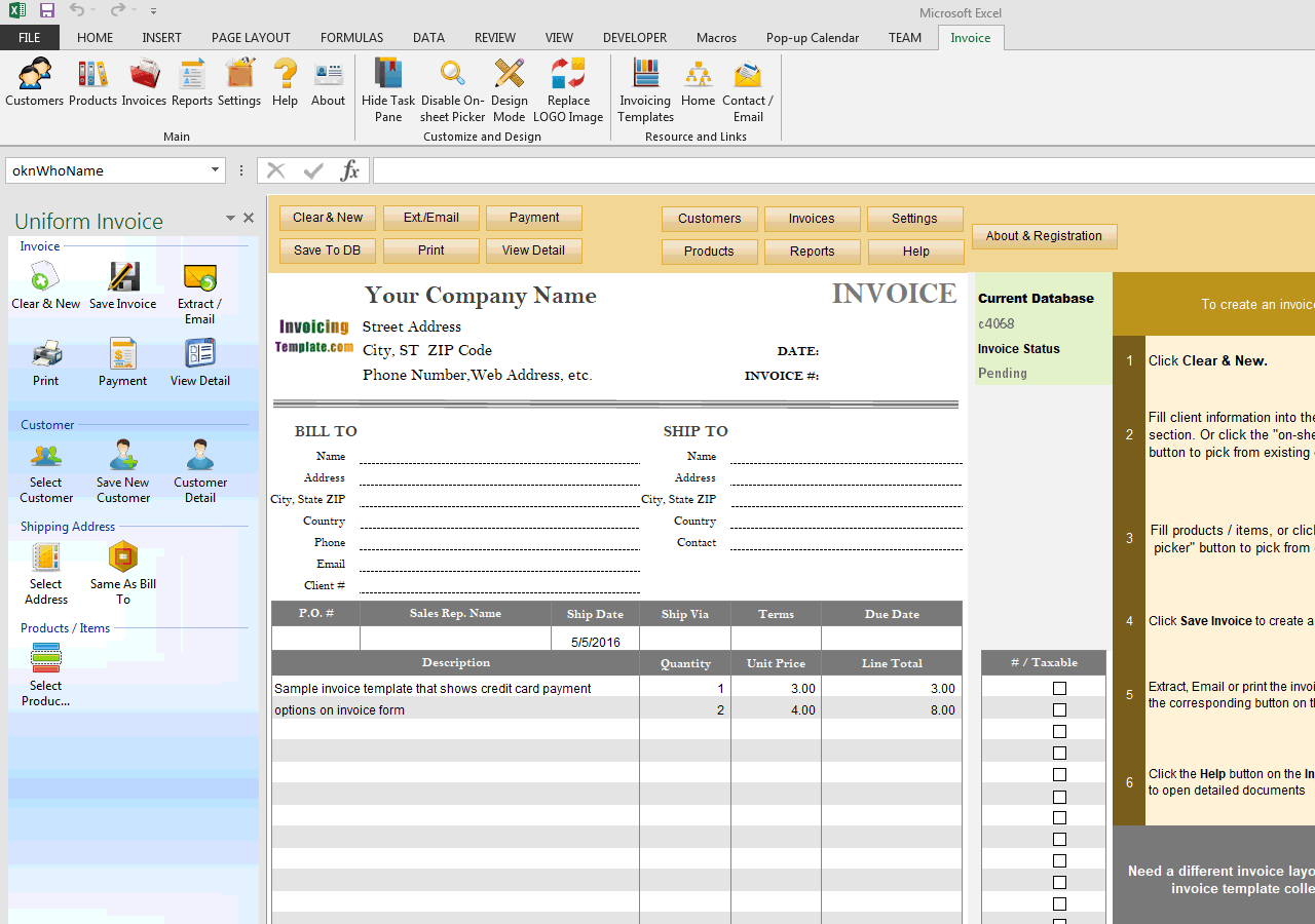 invoice template with credit card payment option
