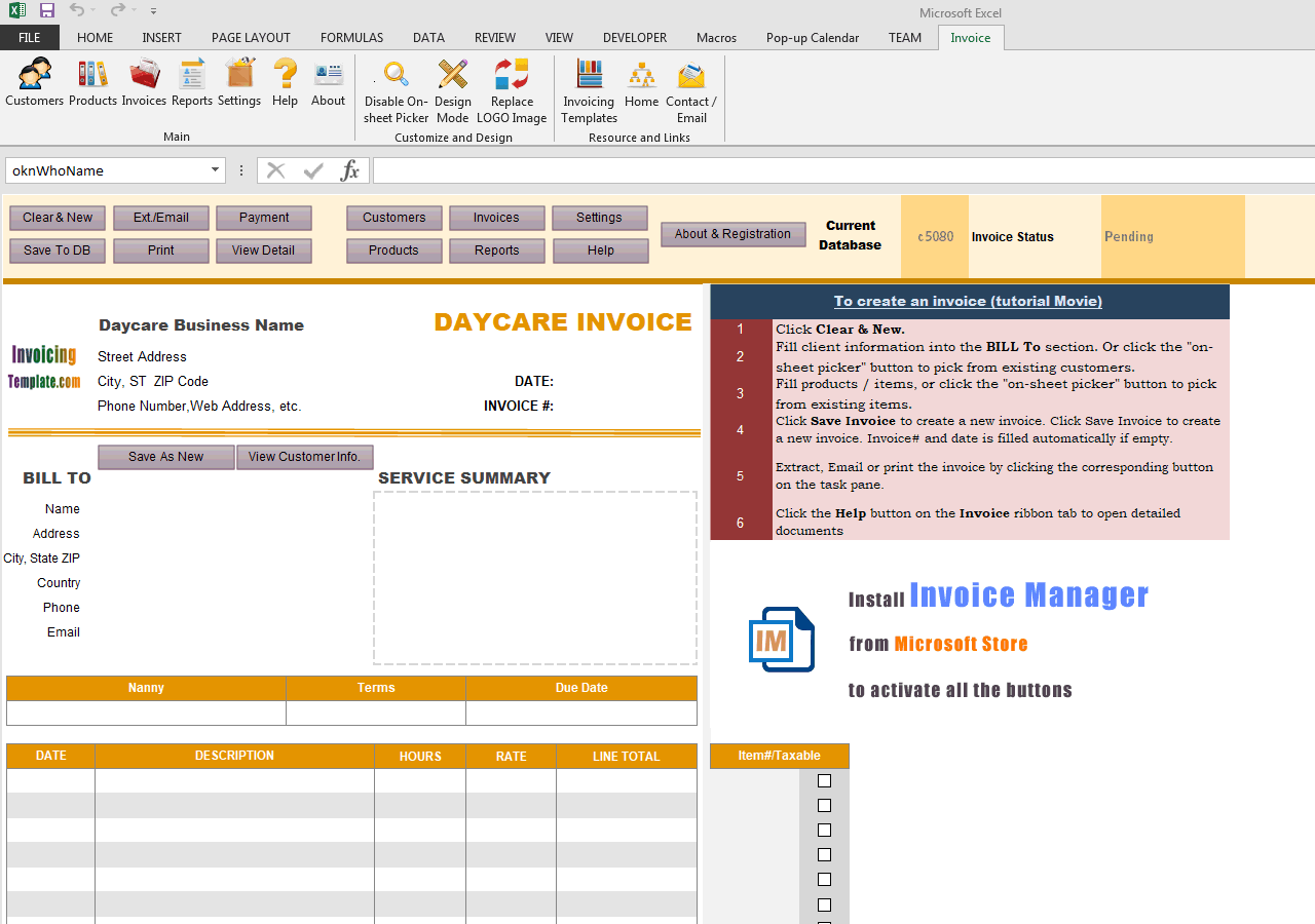 daycare invoice template