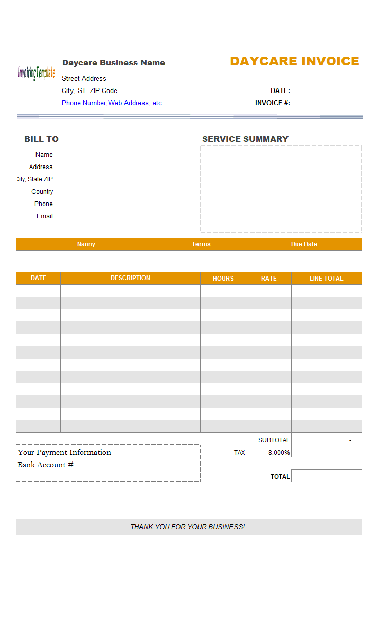 Child Care Billing Format
