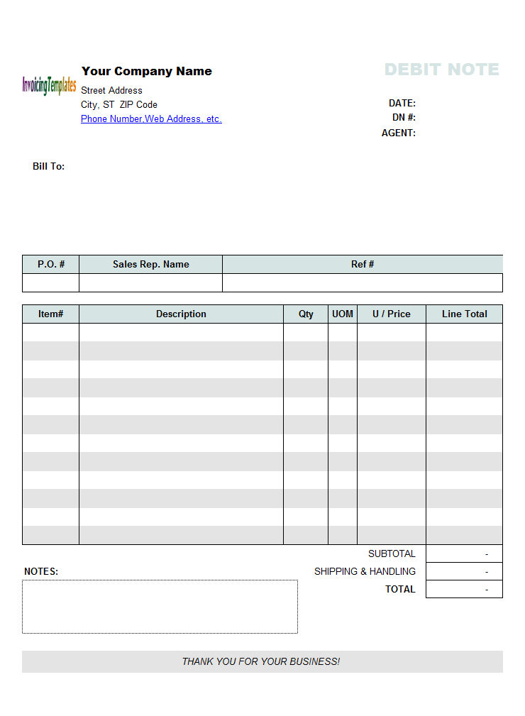 debit note template   pdf