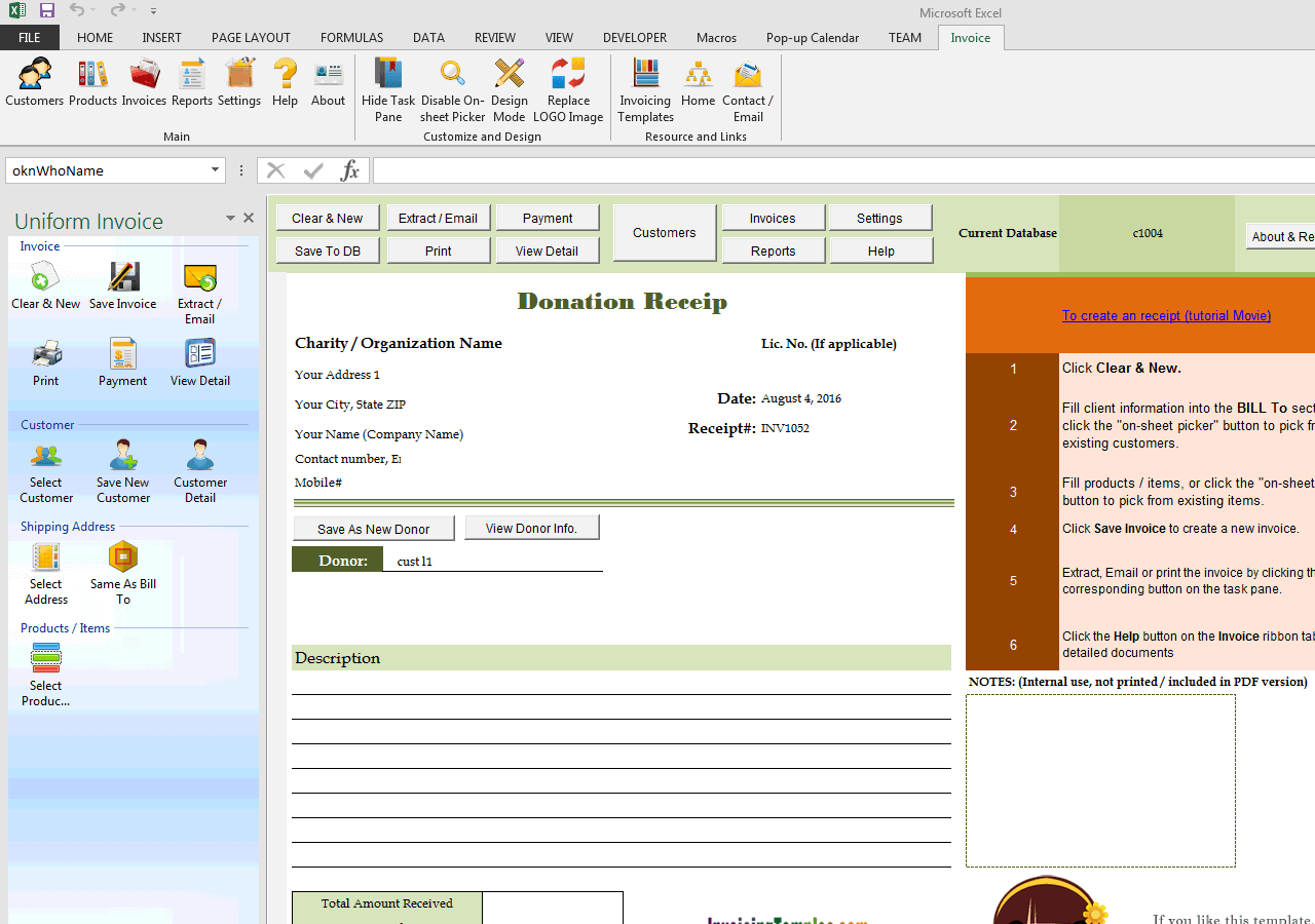 Donation Receipt Template for Excel – Sample Receipts Templates