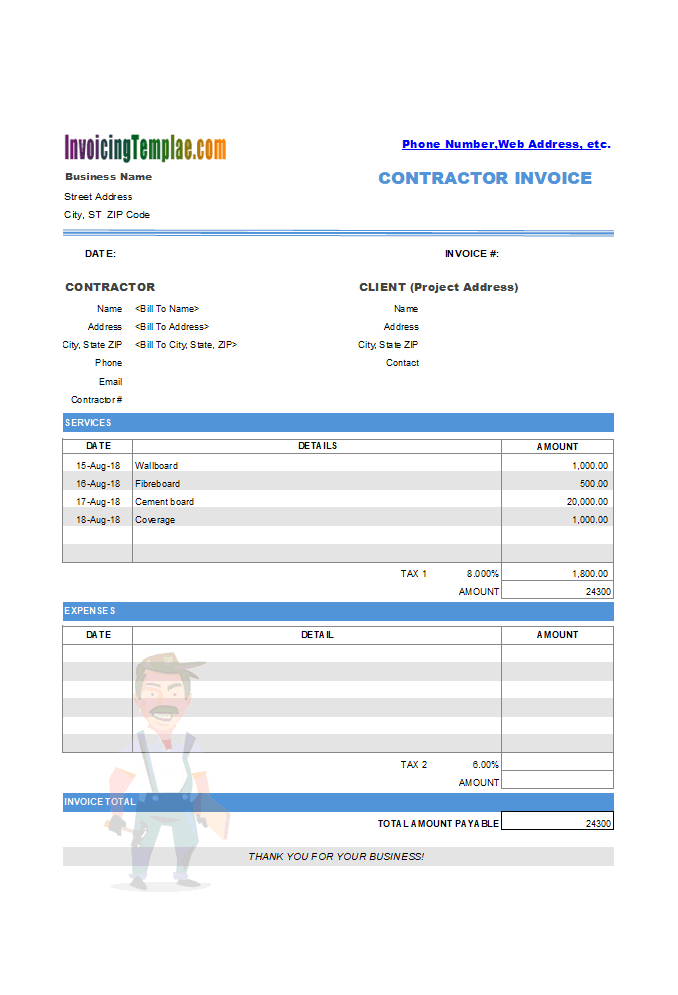 Drywall Invoice Example