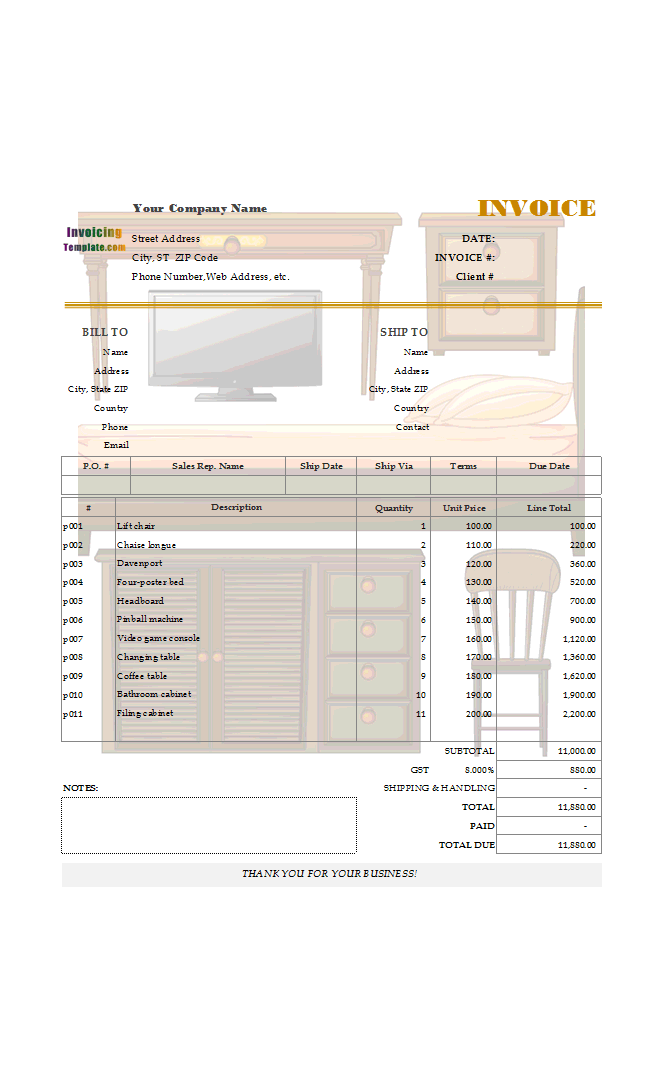 Fillable Billing Template for Furniture and Appliances