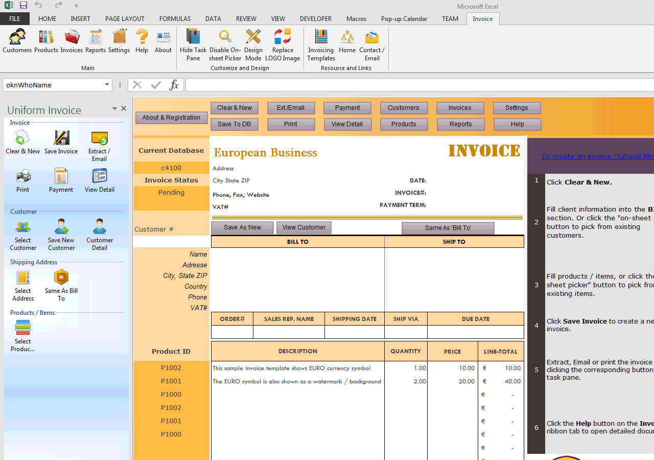 Invoicing Template in Euros (UIS Edition)