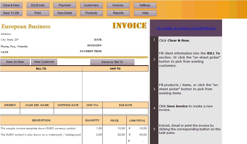 Thumbnail for Invoicing Template in Euros