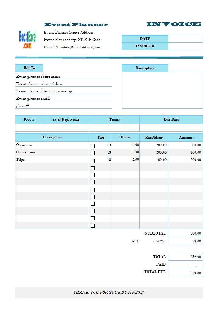 Tutoring Invoice Template