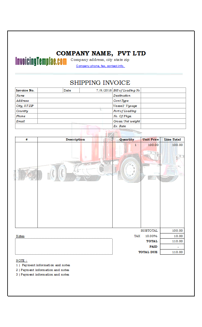 Excel Shipping Invoice with Printable Truck Background Image
