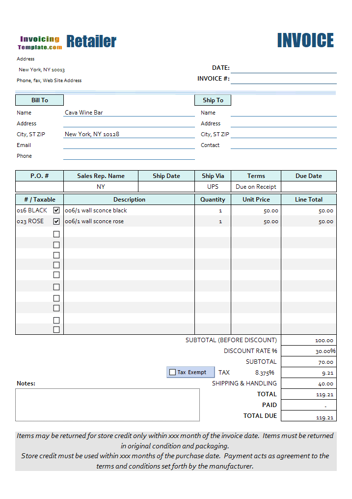 Excel Retail Invoice Template
