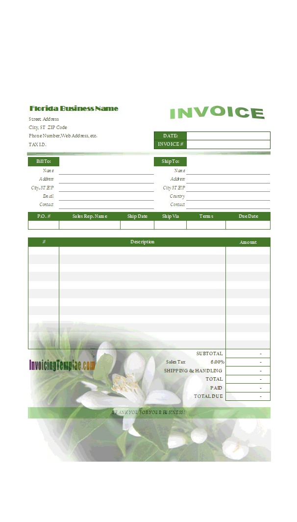 Simple Invoice Format for Florida