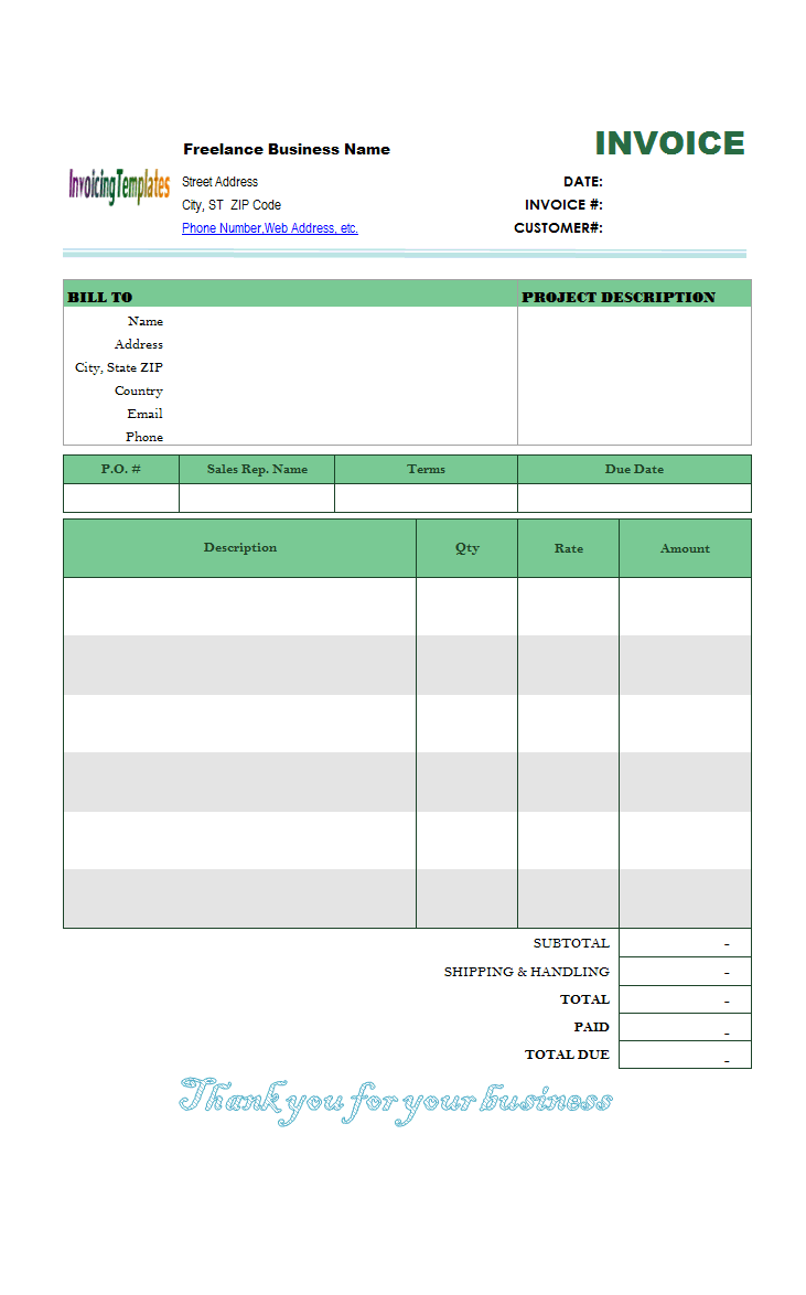 photography invoicing template  general