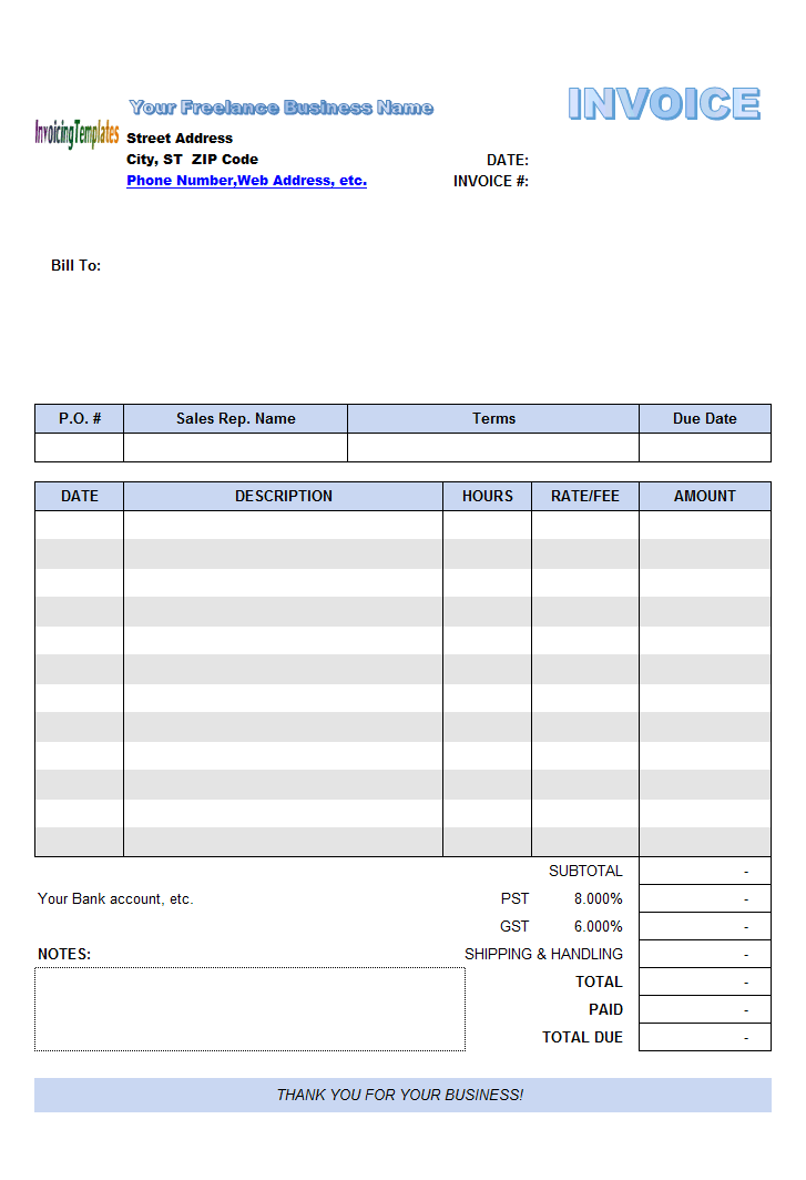 Freelance Invoice Template - Invoice template for excel 2007