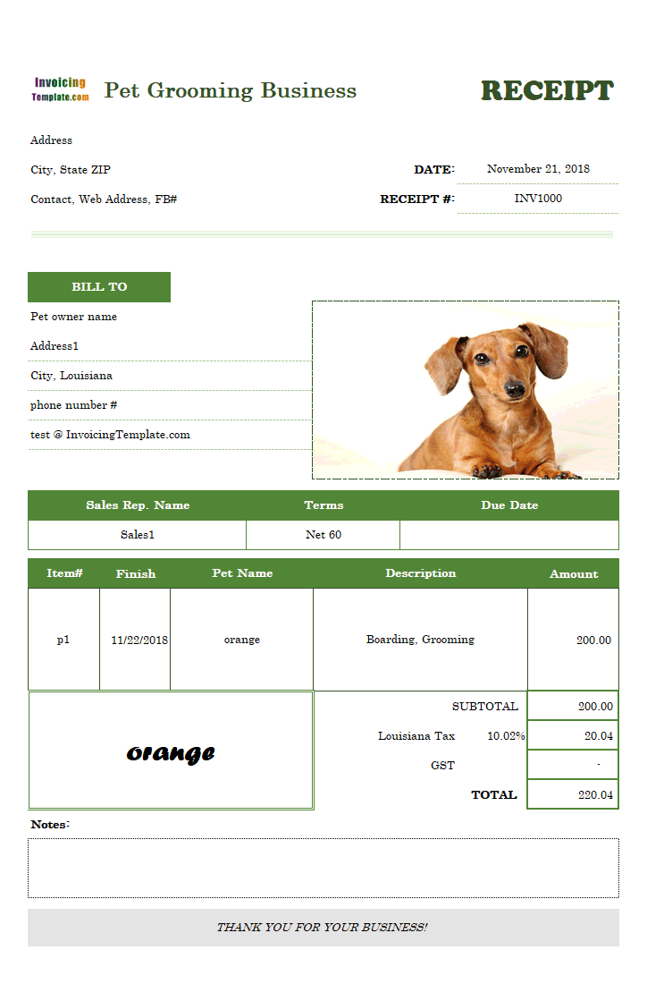 Printable Receipt Template for Pet Boarding