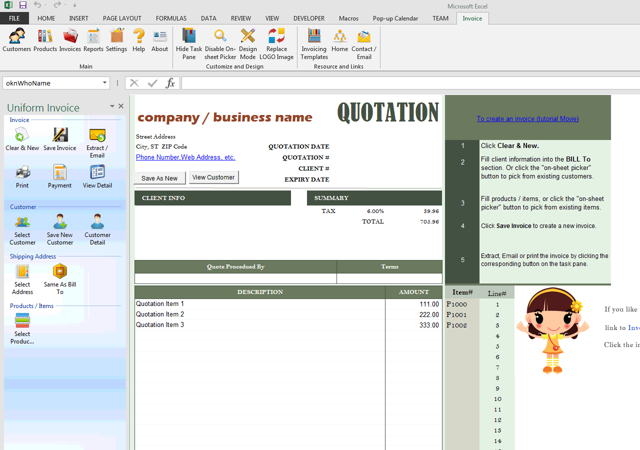 Quote Template Excel