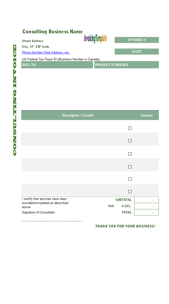 general purchase billing template consulting one tax