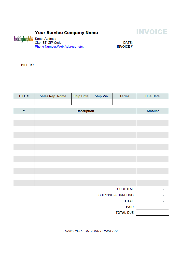 generic service invoice template