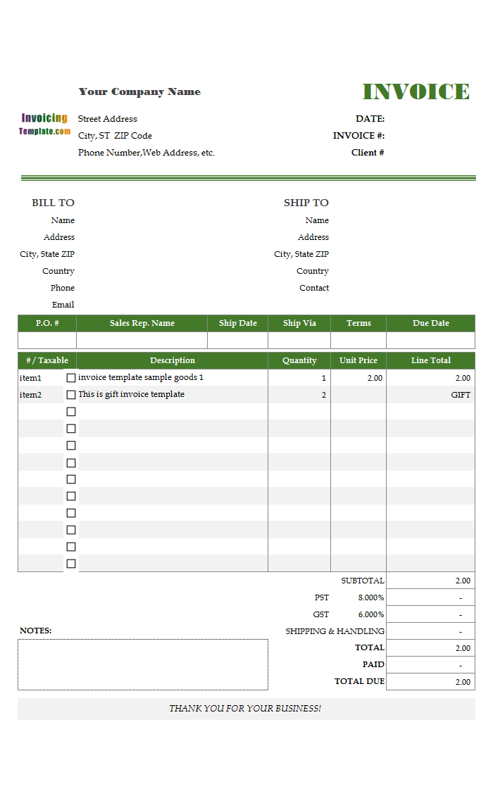 5 Column Invoice Templates