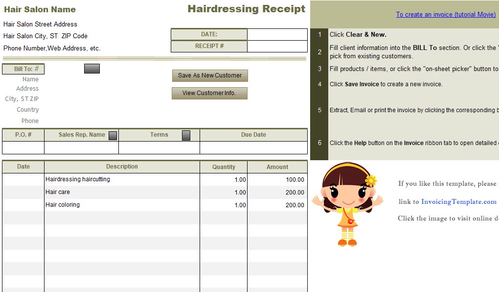 Hairdressing Receipt