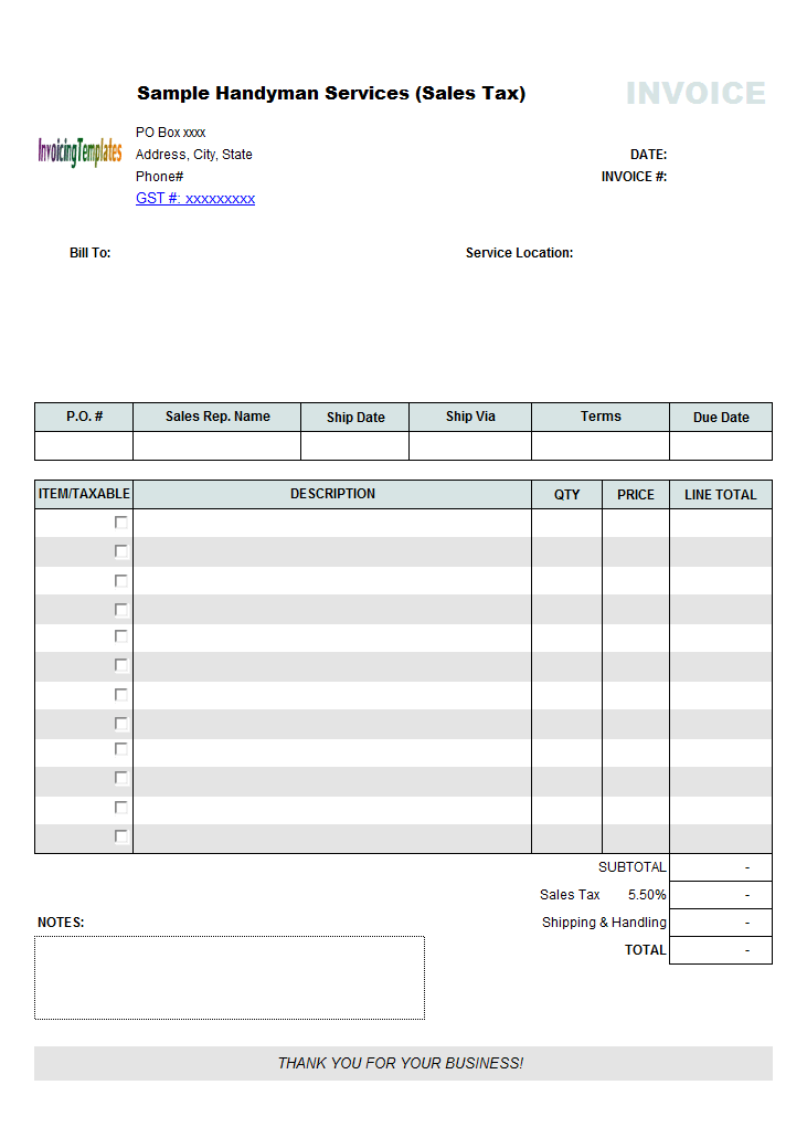 Handyman Invoice Template Sales Tax