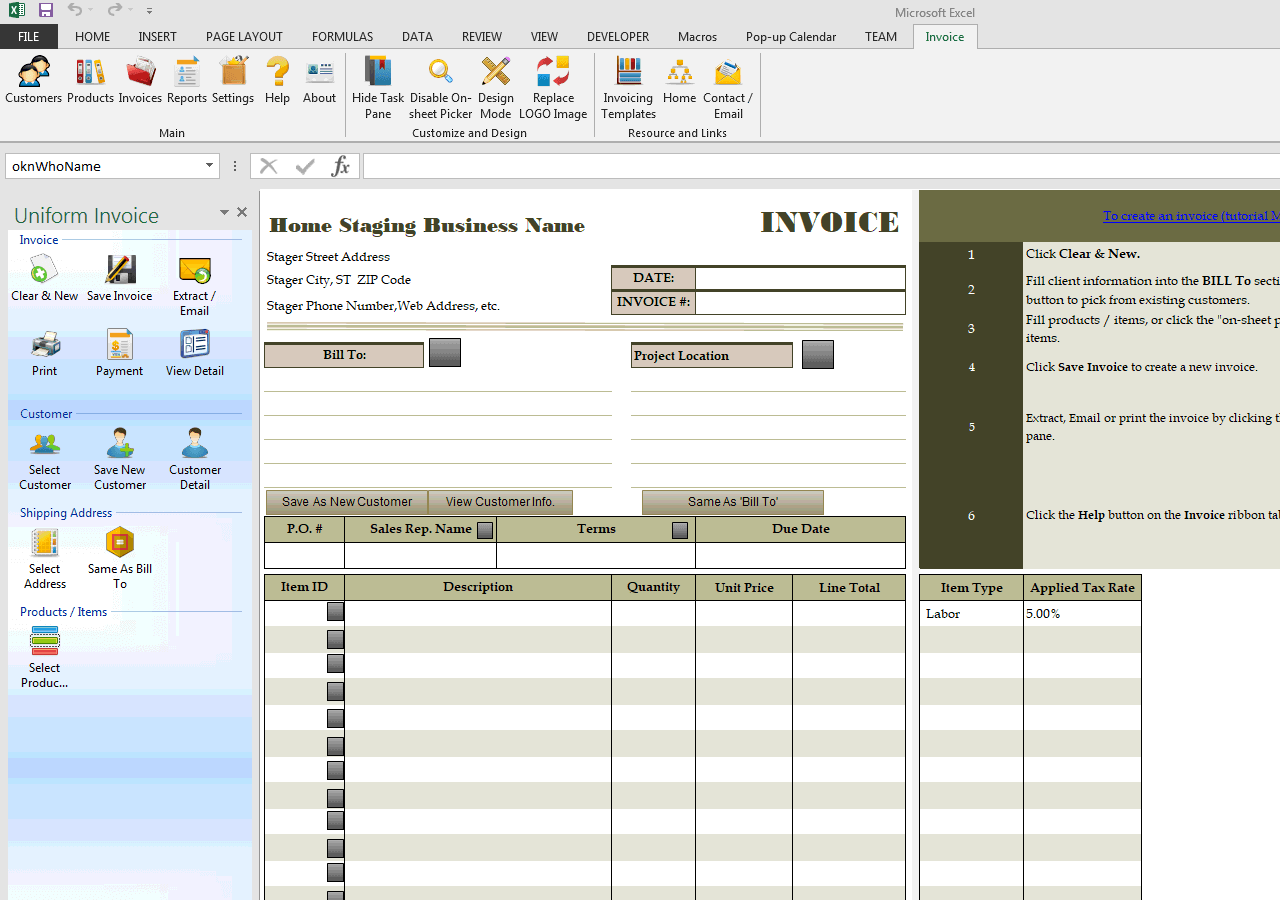 home staging invoice sample