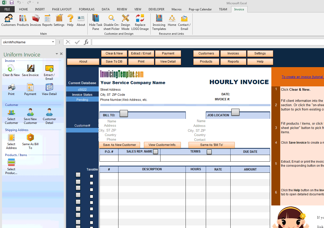 Hourly Invoice Template (UIS Edition)