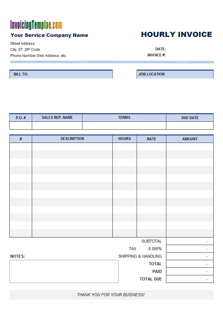 Free Invoice Template For Hours Worked - 20 Results Found
