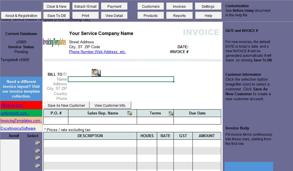 Hourly Service Invoice Template (Price Excluding Tax) (IMFE Edition)