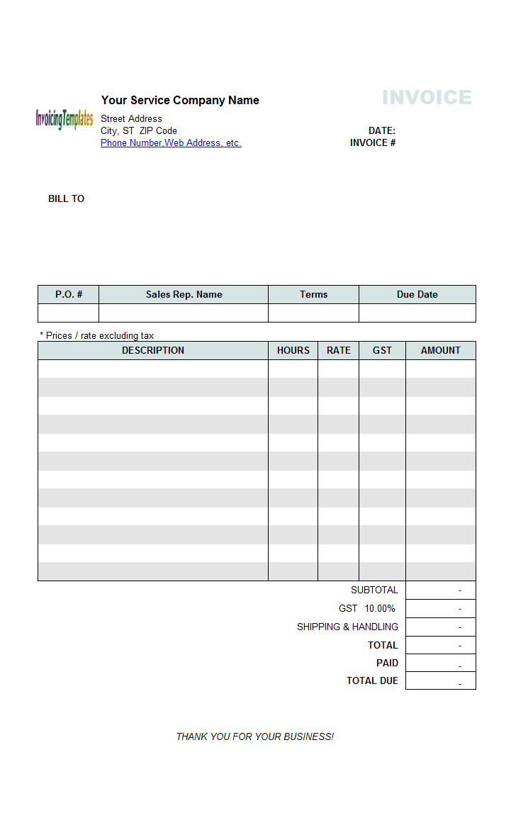 Hourly Service Billing Statement (Price Excluding Tax)