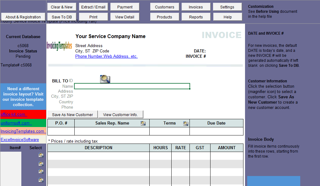 Hourly Service Bill Sample (Price Including Tax) (IMFE Edition)