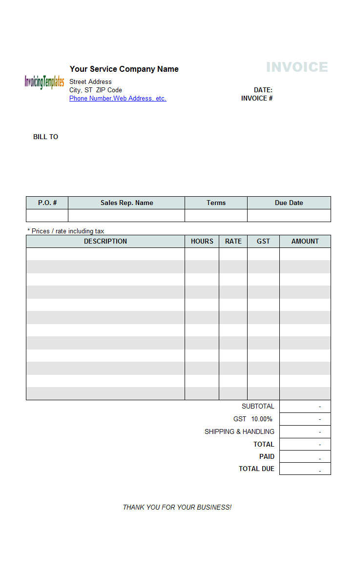 Hourly Service Bill Sample (Price Including Tax)