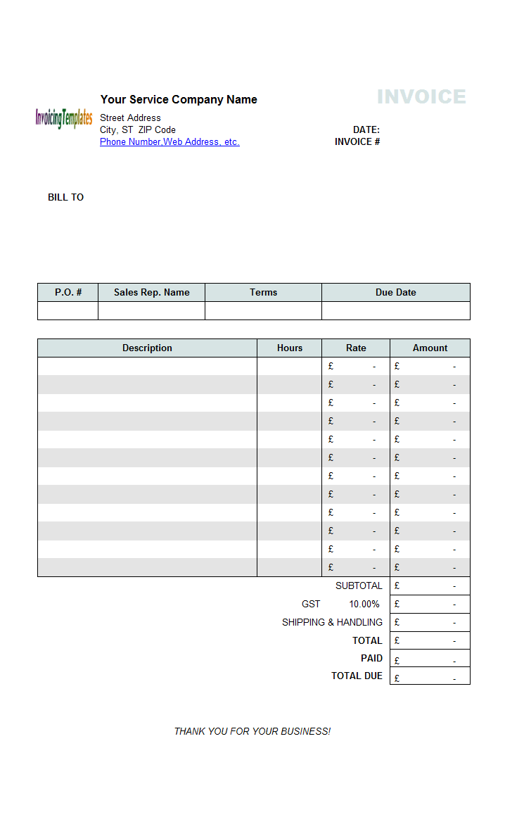 Hourly Service Invoice Template UK Currency - Hourly service invoice template