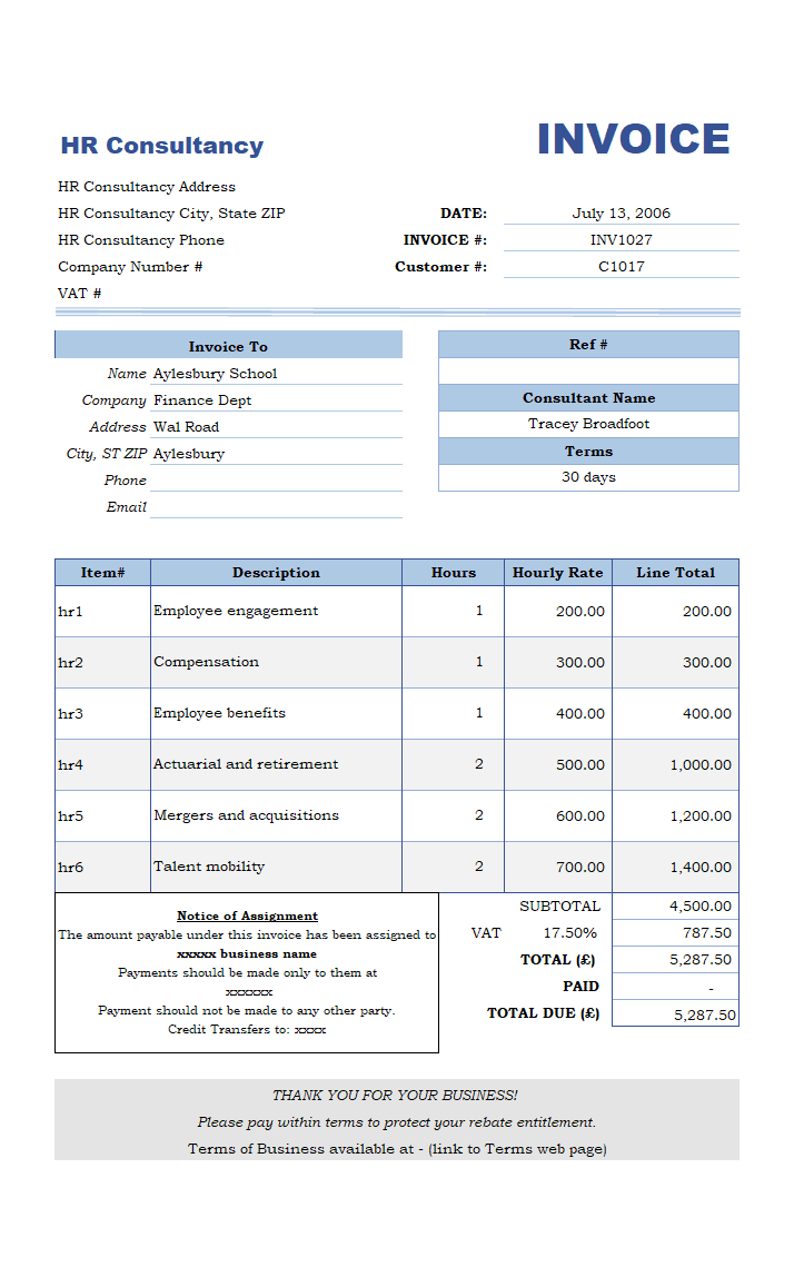 Invoice Format for HR Consultancy