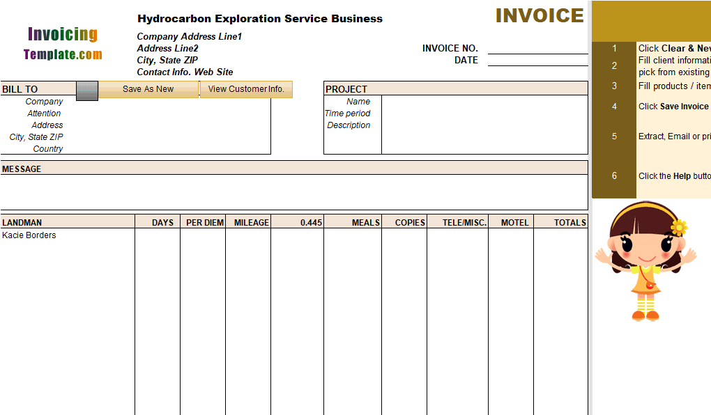 Oil and Gas Exploration Invoice