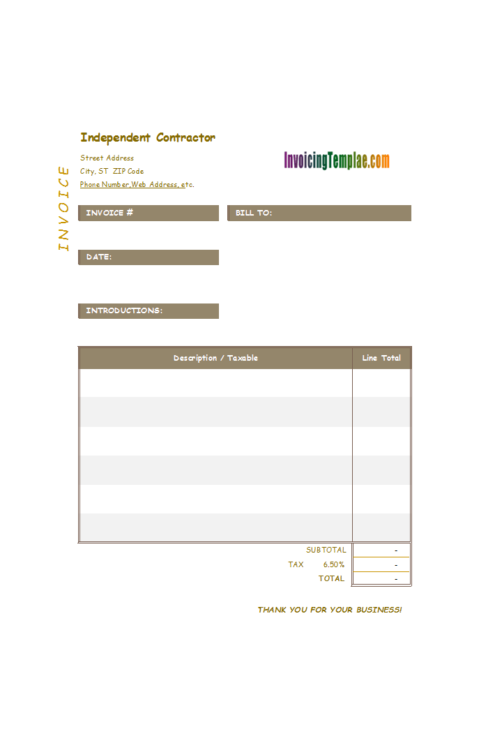 Independent Contractor Billing Format