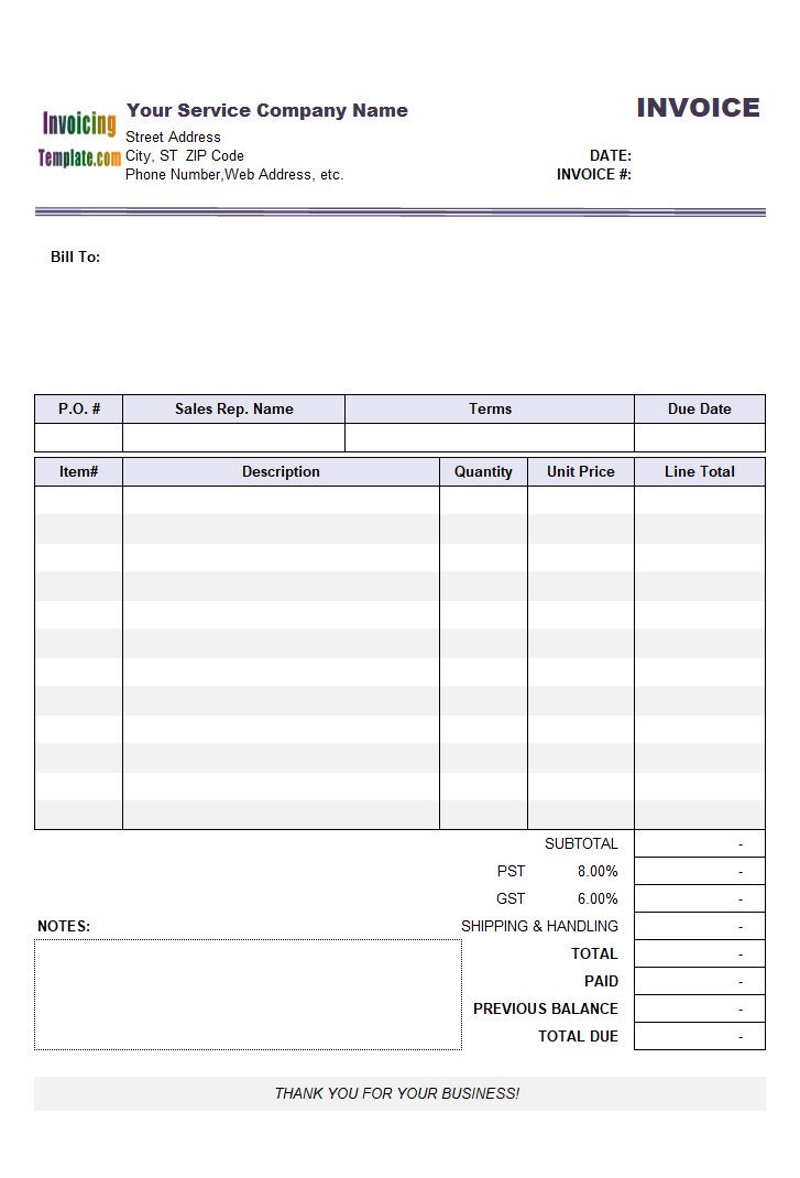 Invoice with Previous Balance (Service)